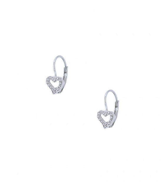 "Image of """"Cutie White Hearts #2"" silver children's earrings"""