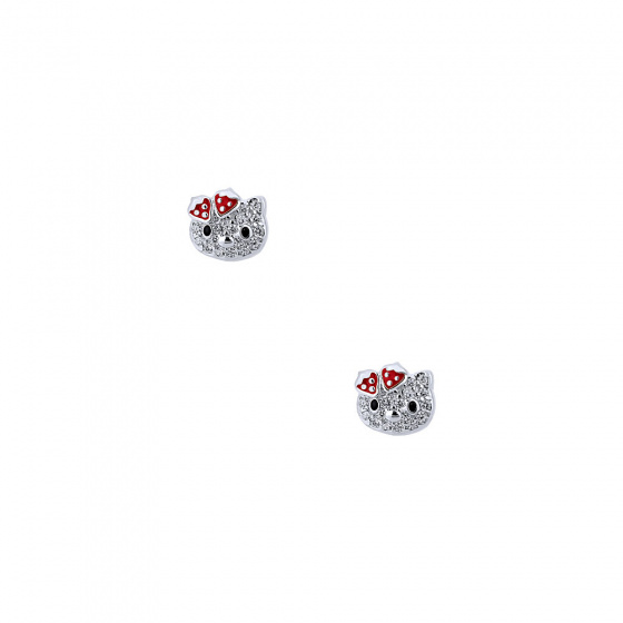 "Image of """"Cutie Strawberry Kitties"" silver children's earrings"""