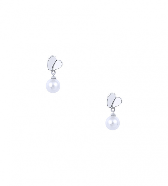 "Image of """"Pearl & Heart"" silver earrings"""