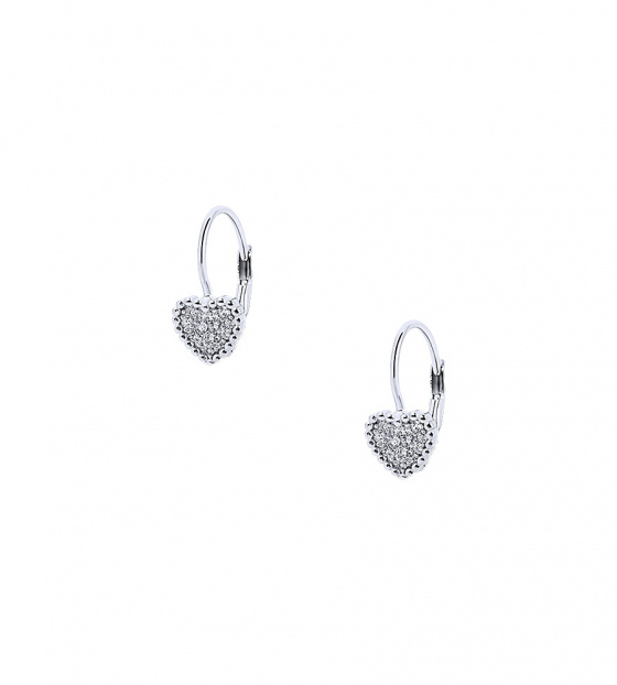 "Image of """"Cutie White Hearts #1"" silver children's earrings"""