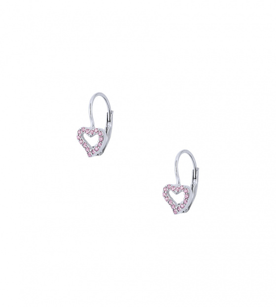 "Image of """"Cutie Pink Hearts #2"" silver children's earrings"""