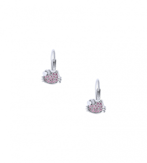 "Image of """"Cutie Pink Kitties"" silver children's earrings"""