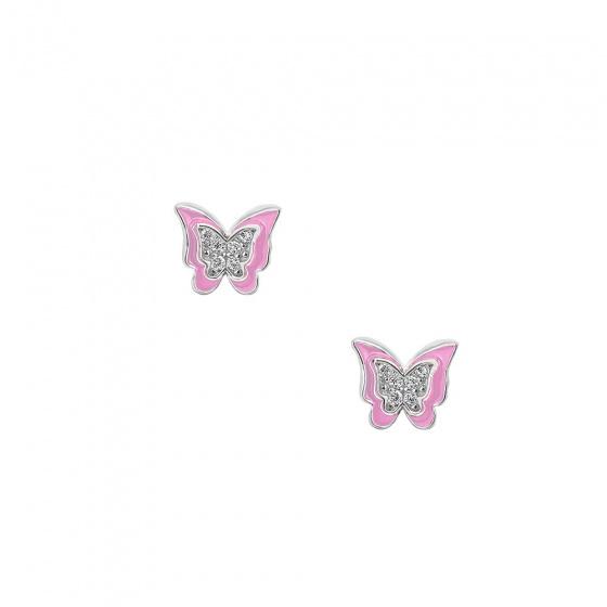 """Image of """"""""Cutie Pink Butterflies"""" cercei din argint pentru copii"""""""