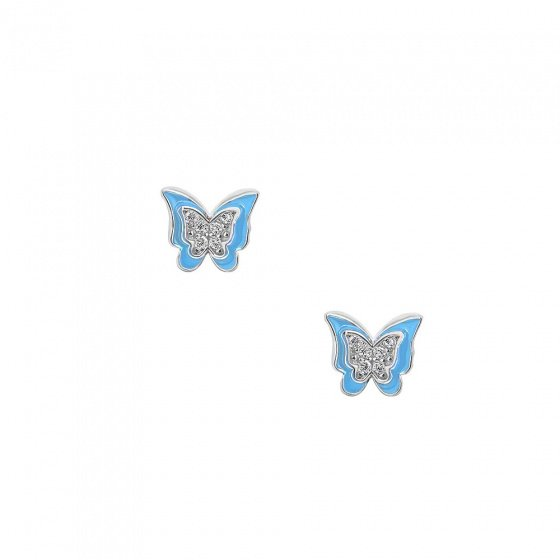 "Image of """"Cutie Blue Butterflies"" silver children's earrings"""