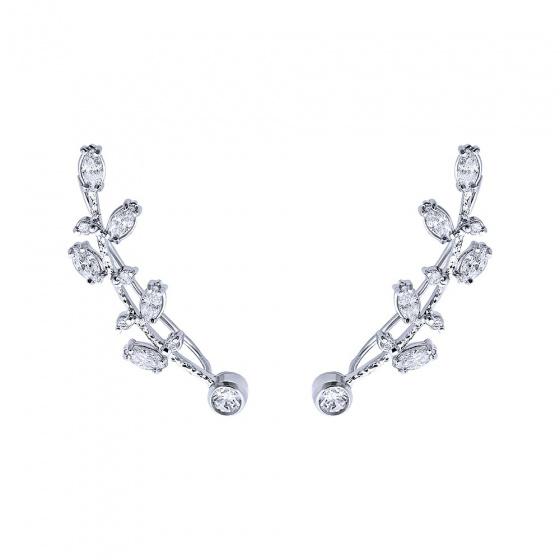 "Image of """"White Βougainvillea"" silver climbers earrings"""