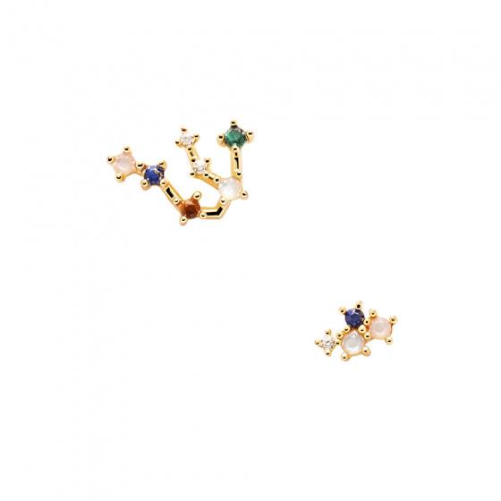 """Εικόνα του """"Σκουλαρίκια PDPAOLA ζώδιο Υδροχόος ασημένια επίχρυσα, AR01-402-U"""""""