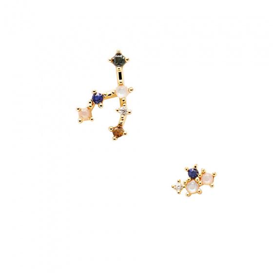 "Image of ""PDPAOLA Zodiac Taurus silver earrings gold plated, AR01-405-U"""