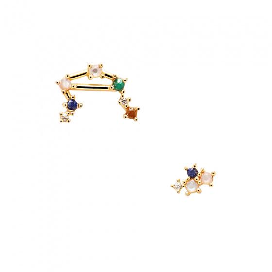 "Image of ""PDPAOLA Zodiac Libra silver earrings gold plated, AR01-410-U"""