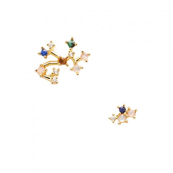 "Image of ""PDPAOLA Zodiac Sagittarius silver earrings gold plated, AR01-412-U"""