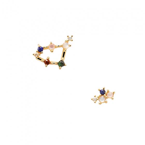 "Image of ""PDPAOLA Zodiac Capricorn silver earrings gold plated, AR01-413-U"""