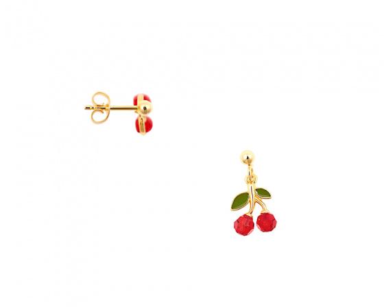 """Εικόνα του """"Ασημένια σκουλαρίκια """"Red Cherries"""" επίχρυσα"""""""