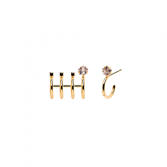 "Image of ""PDPAOLA ""Andromeda"" silver hoop earrings gold plated"""