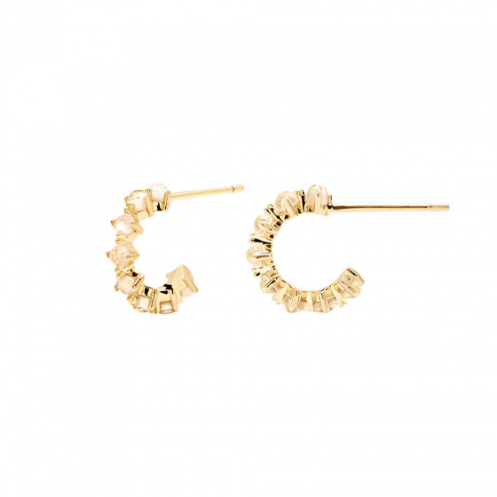 "Image of ""PDPAOLA ""Lady Bird"" silver hoop earrings gold plated"""