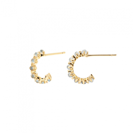 "Image of ""PDPAOLA ""Mint Bird"" silver hoop earrings gold plated"""