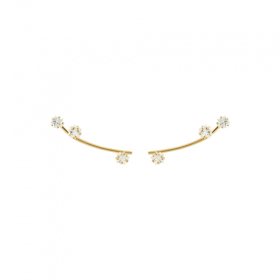 "Image of ""PDPAOLA ""Glow"" silver climber earrings gold plated"""
