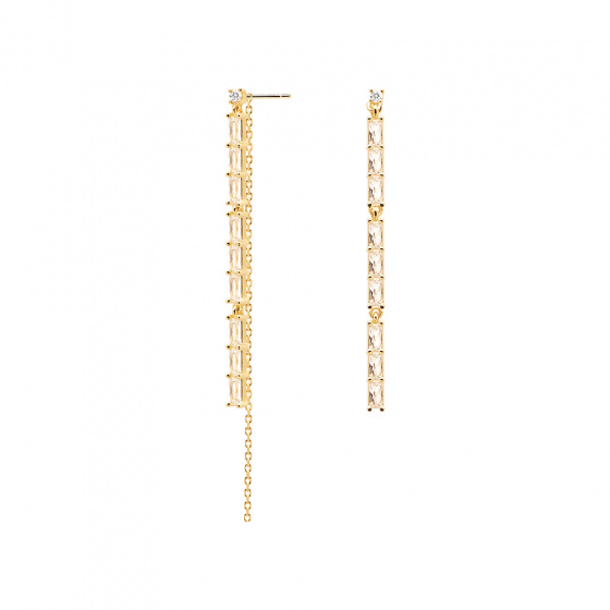 "Image of ""PDPAOLA ""Idris"" silver earrings gold plated"""