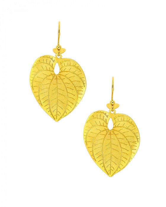 "Image of """"Heart Leaf"" silver earrings gold plated"""