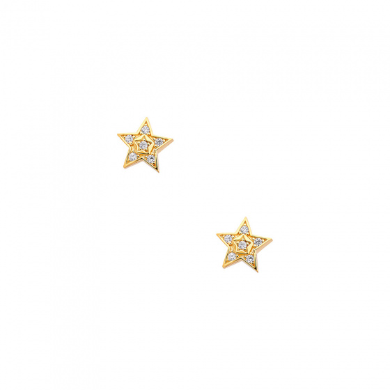 """Image of """"""""Bright Stars"""" silver earrings gold plated"""""""