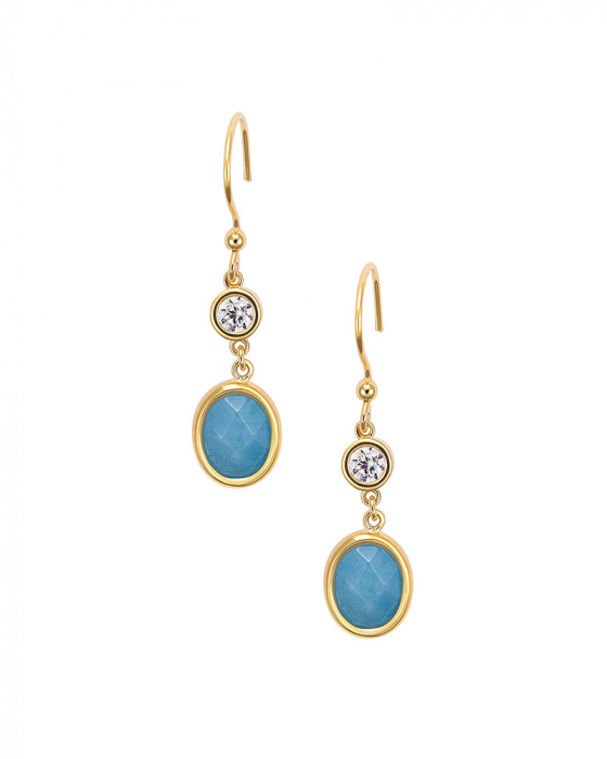 """Image of """"""""Blue Jades"""" silver earrings gold plated"""""""
