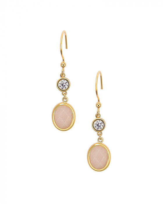 """Image of """"""""Pink Jades"""" silver earrings gold plated"""""""