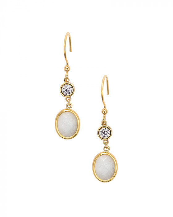 """Image of """"""""White Jades"""" silver earrings gold plated"""""""
