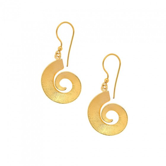 "Image of ""''Ancient Fossils'' silver earrings gold plated"""