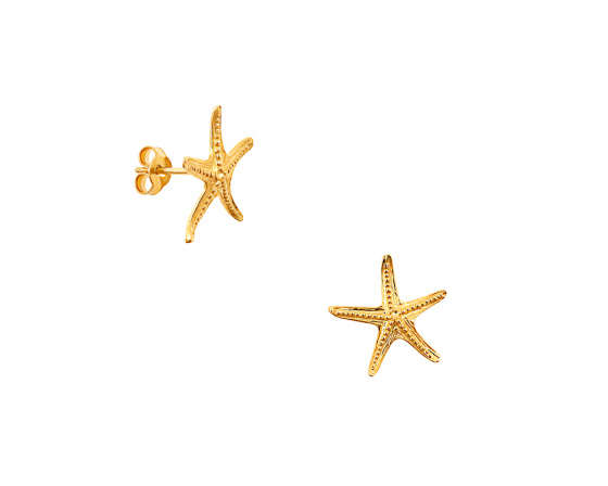 "Image of """"Starfish #2"" silver earrings gold plated"""