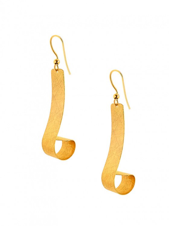 "Image of """"Deep Ocean Waves #1"" silver earrings gold plated"""