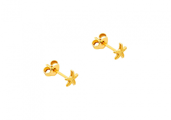 "Image of """"Starfish"" silver earrings goldplated"""