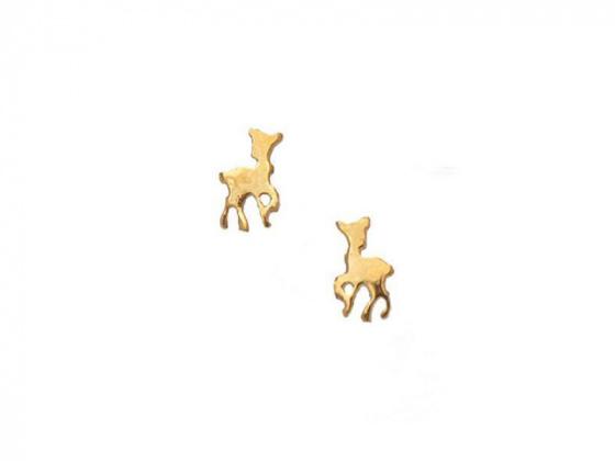 """Image of """"""""Lovely Deer"""" silver children's earrings gold plated"""""""