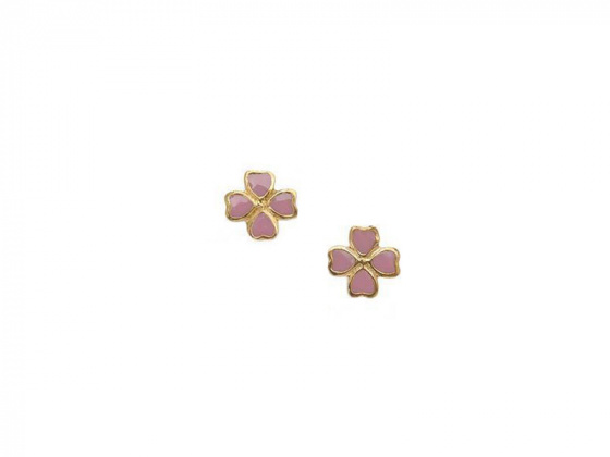"Image of """"Lovely Flower"" silver children's earrings gold plated"""