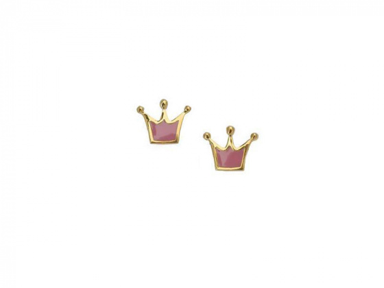 """Image of """"""""Lovely Crown"""" silver children's earrings gold plated"""""""