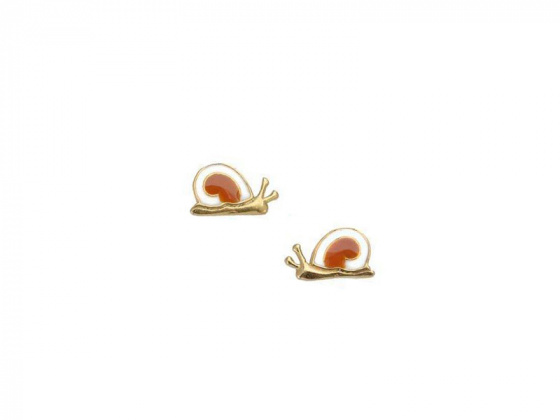 "Image of """"Lovely Snail"" silver children's earrings gold plated"""