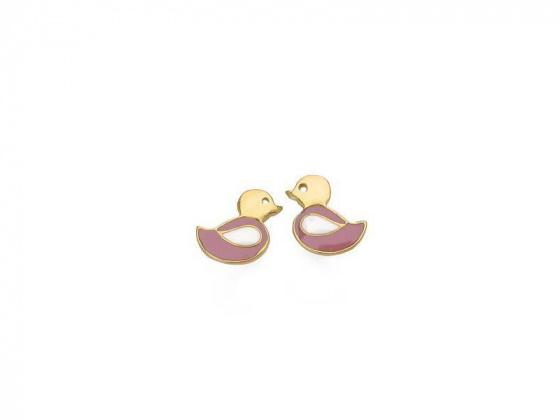 "Image of """"Lovely Bird"" silver children's earrings gold plated"""