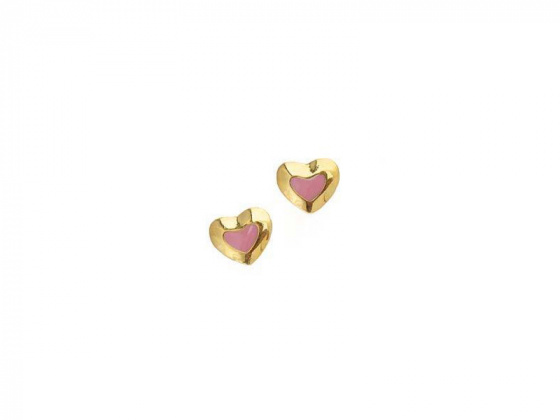 "Image of """"Lovely Heart"" silver children's earrings gold plated"""
