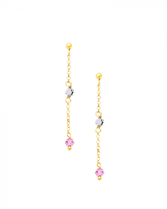 "Image of """"Rainbow Gems #2"" silver earrings gold plated"""