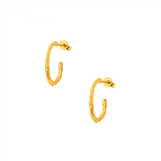 "Image of """"Crafted Hoops #1"" silver earrings gold plated"""