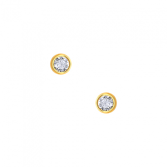"Image of """"White Sensation"" silver earrings gold plated"""