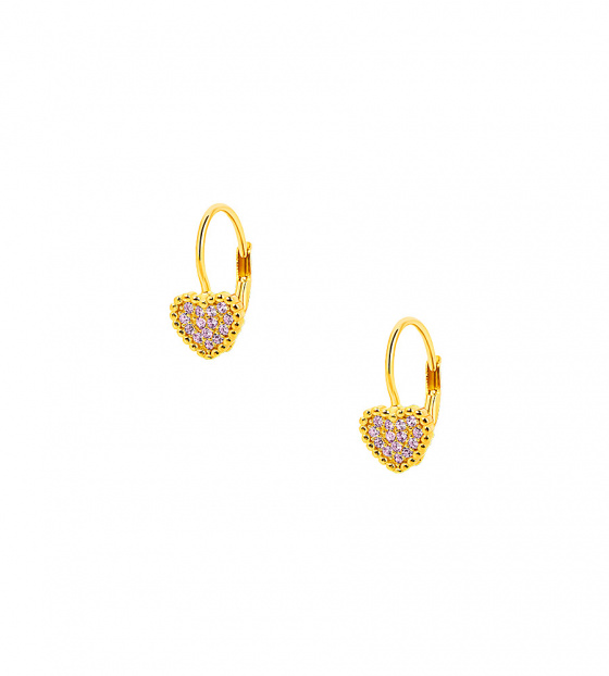 "Image of """"Cutie Pink Hearts #1"" silver children's earrings gold plated"""