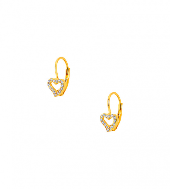 "Image of """"Cutie White Hearts #2"" silver children's earrings gold plated"""