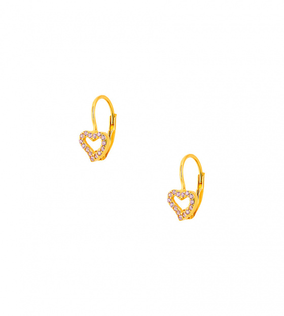 "Image of """"Cutie Pink Hearts #2"" silver children's earrings gold plated"""