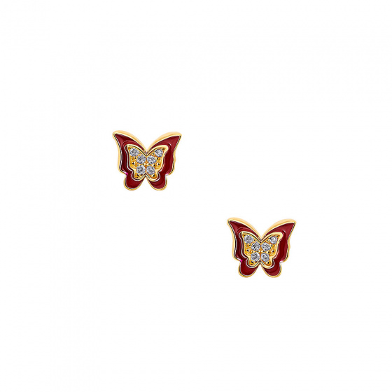 "Image of """"Cutie Red Butterflies"" silver children's earrings gold plated"""