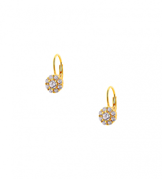 "Image of """"Cutie White Blossoms"" silver children's earrings gold plated"""
