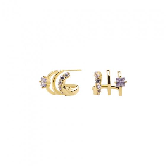 """Εικόνα του """"Ασημένια σκουλαρίκια κρίκοι PDPAOLA """"Royal"""" επίχρυσα, AR01-246-U"""""""