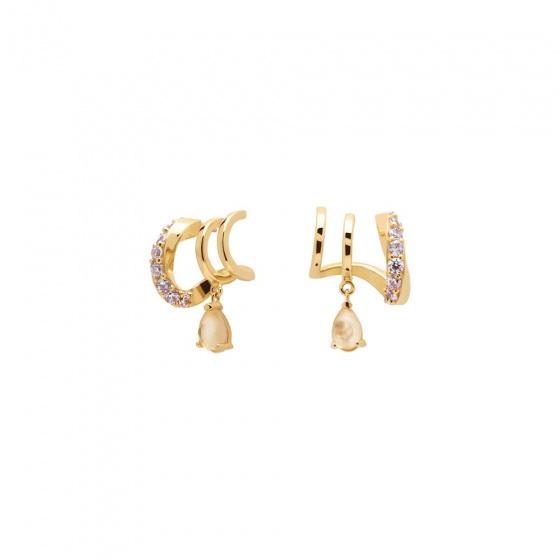 """Εικόνα του """"Ασημένια σκουλαρίκια κρίκοι PDPAOLA """"Lumiere"""" επίχρυσα, AR01-249-U"""""""