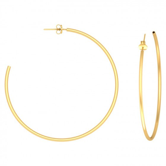 "Image of """"Classic"" silver hoop earrings 5 cm, gold plated, 50D15F-3"""