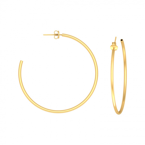 "Image of """"Classic"" silver hoop earrings 4 cm, gold plated, 40D15F-3"""