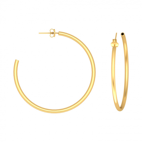 "Image of """"Classic"" silver hoop earrings 4 cm, gold plated, 40D20F-3"""