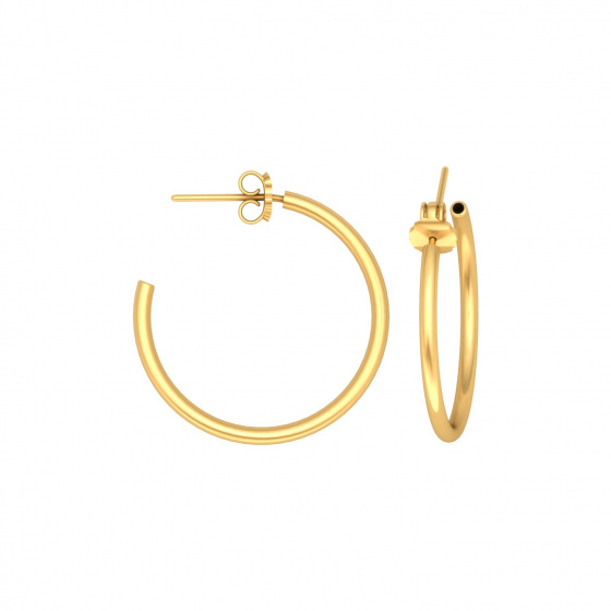 "Image of """"Classic"" silver hoop earrings 2 cm, gold plated, 20D15F-3"""