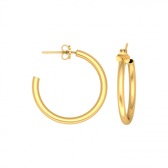 "Image of """"Classic"" silver hoop earrings 2 cm, gold plated, 20D20F-3"""